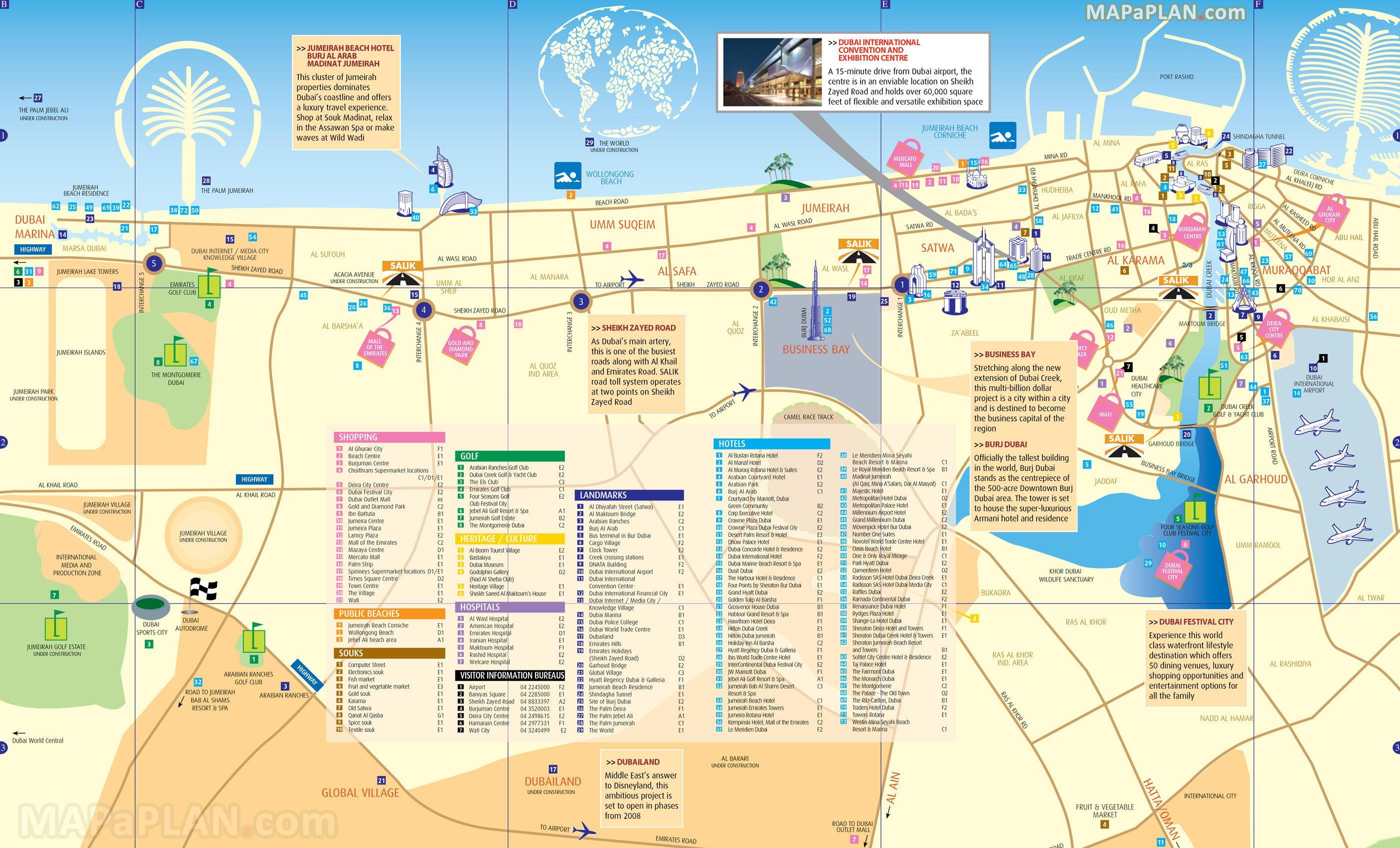 kart over dubai City center, Dubai kart   Kart over Dubai sentrum (Forente  kart over dubai