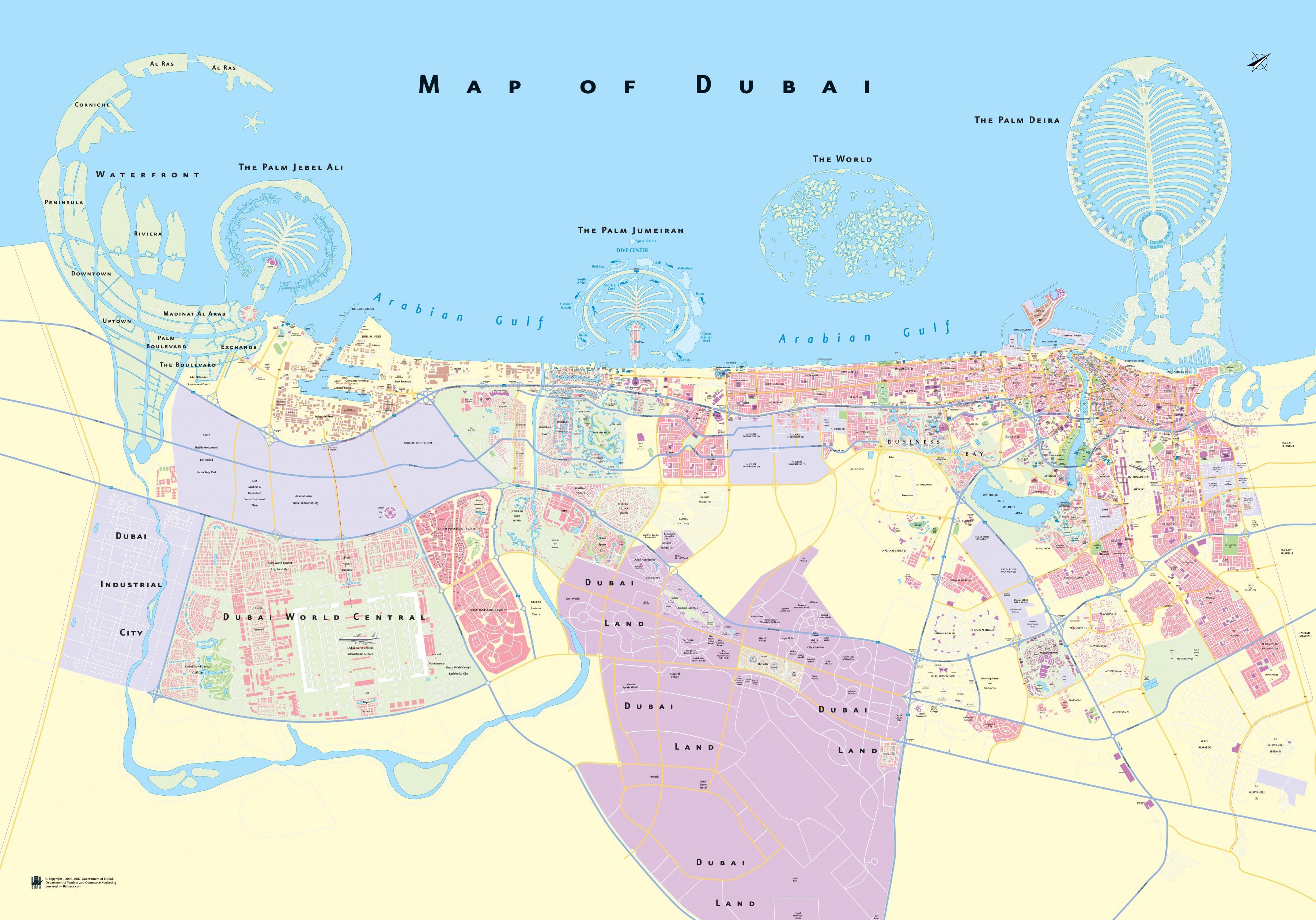 kart over dubai Dubai området kart   Kart over Dubai området (Forente Arabiske  kart over dubai